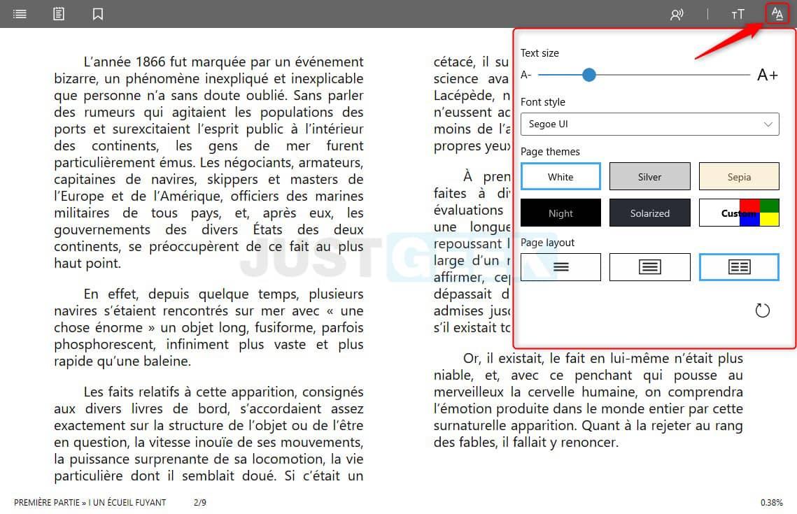 Personnaliser le texte dans Aquila Reader