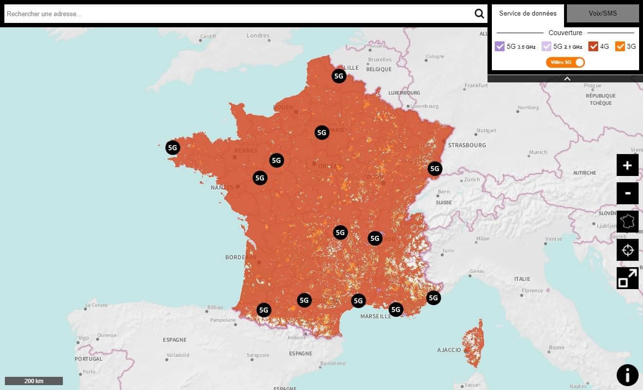 Réseau mobile 5G Orange