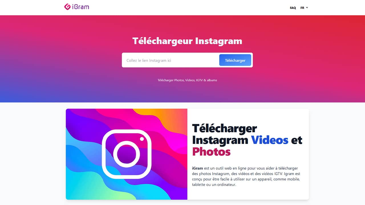Télécharger une vidéo ou une photo Instagram avec iGram