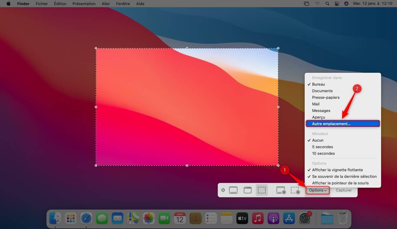 Modifier emplacement capture écran Mac
