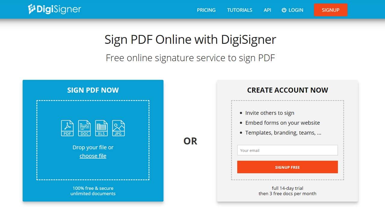 Signer PDF en ligne avec DigiSigner