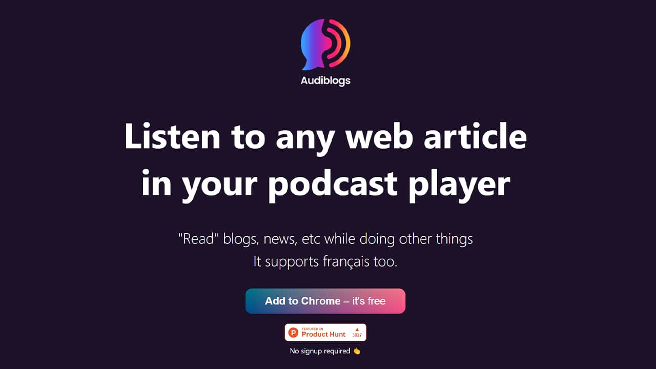 Audiblogs : Écoutez n'importe quel article Web sous forme de podcast