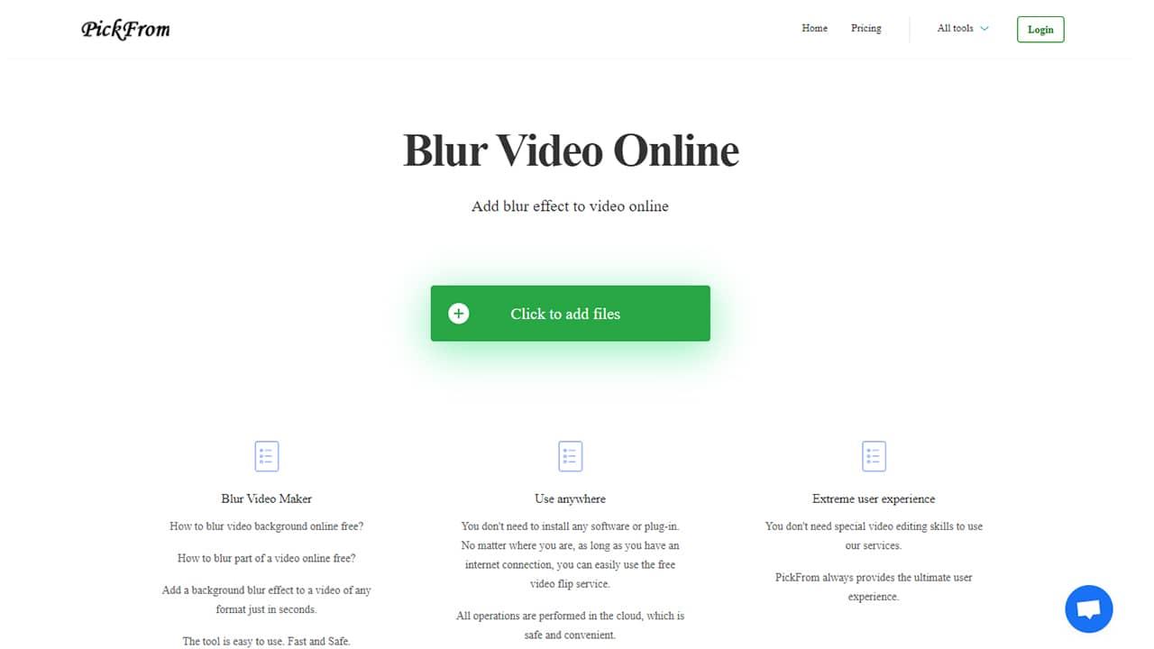 Ajouter un effet de flou dans une vidéo avec Blur Video Online