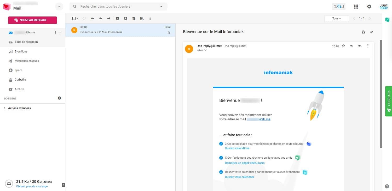 Interface ik.me : service de messagerie gratuit