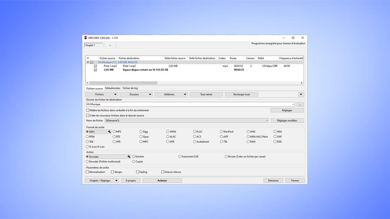XRECODE3 : logiciel conversion fichier audio