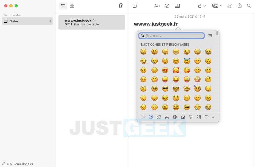 Afficher le panneau émoji sur votre Mac