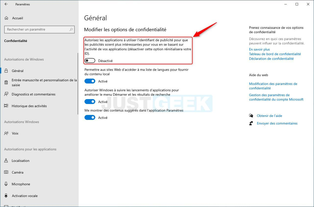 Désactiver l'identifiant de publicité dans Windows 10