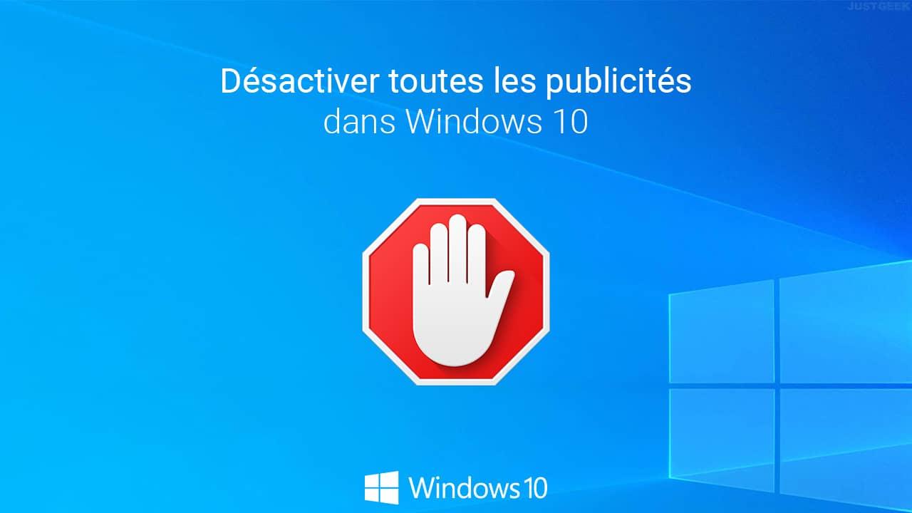 Supprimer publicité Windows 10