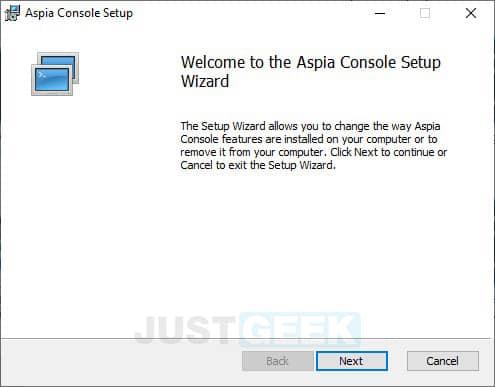 Installation d'Aspia Console