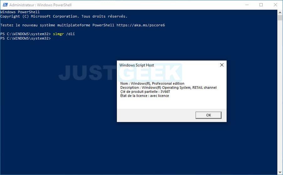 Informations sur la licence Windows avec slmgr /dli