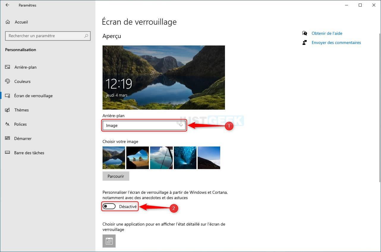 Supprimer les publicités de l'écran de verrouillage de Windows