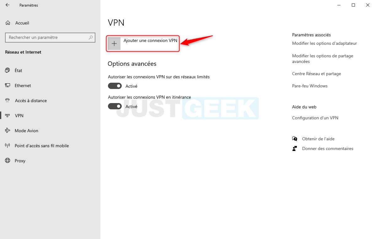 Ajouter une connexion VPN dans Windows 10