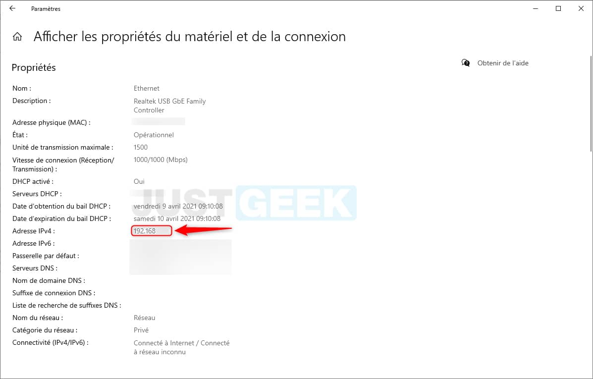 Adresse IPv4 sous Windows 10