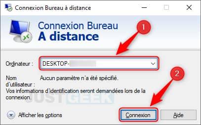 Connexion Bureau à distance