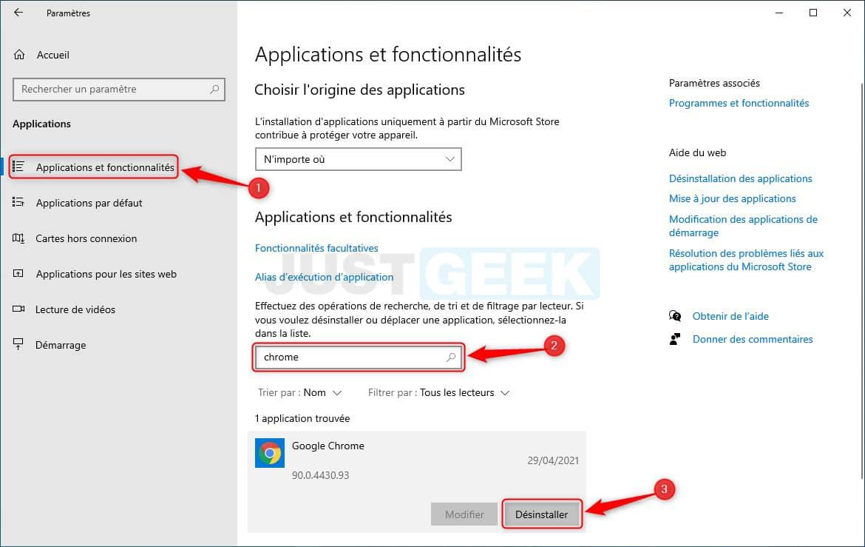 Désinstaller Google Chrome dans les paramètres de Windows 10