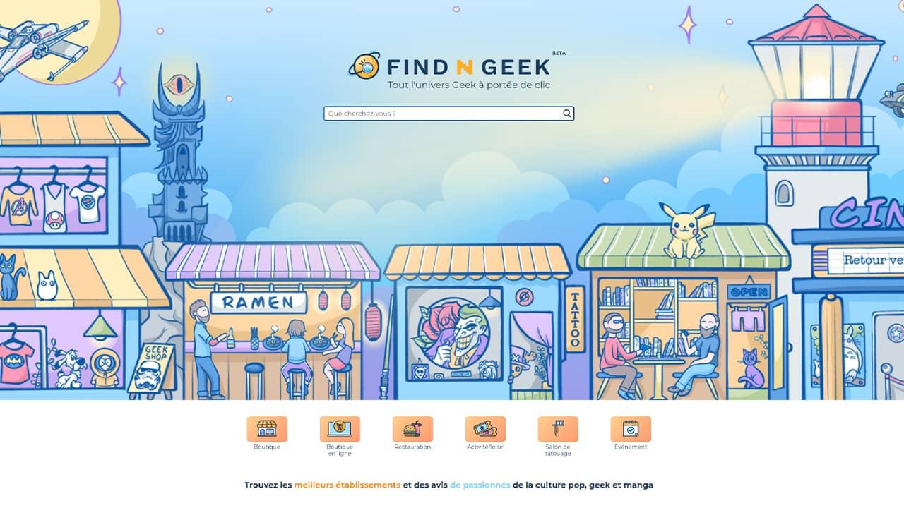 Find'N'Geek : trouver les meilleurs établissements et avis de passionnés de la culture pop, geek et manga
