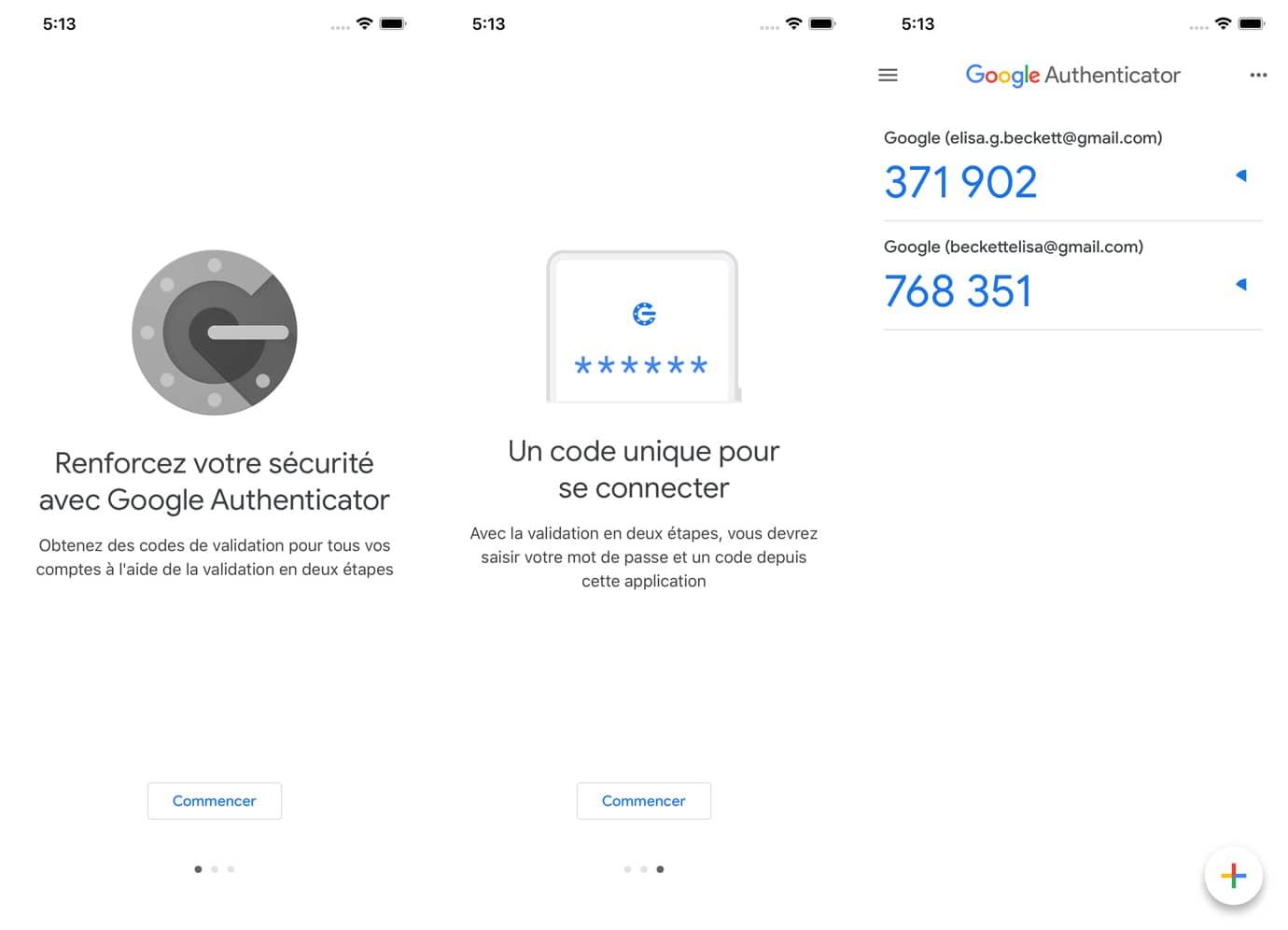 Google Authenticator : interface de l'application d'authentification à deux facteurs