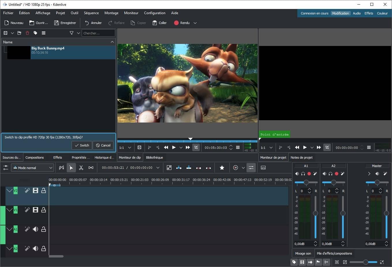 Interface du logiciel de montage vidéo gratuit Kdenlive