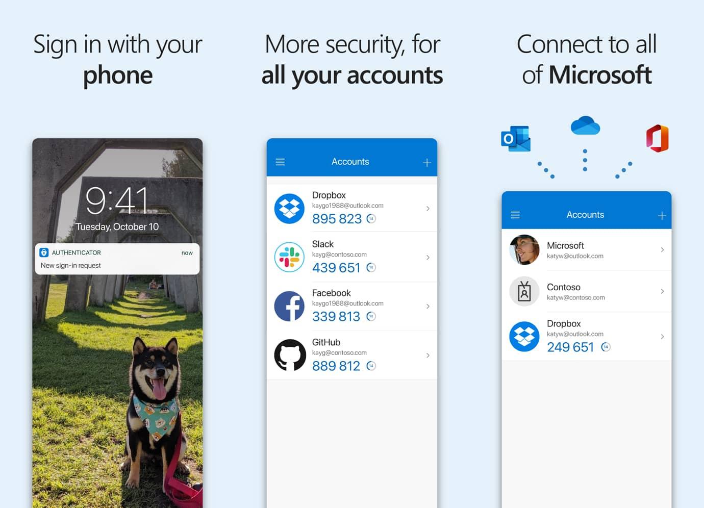 Interface de l'application Microsoft Authenticator
