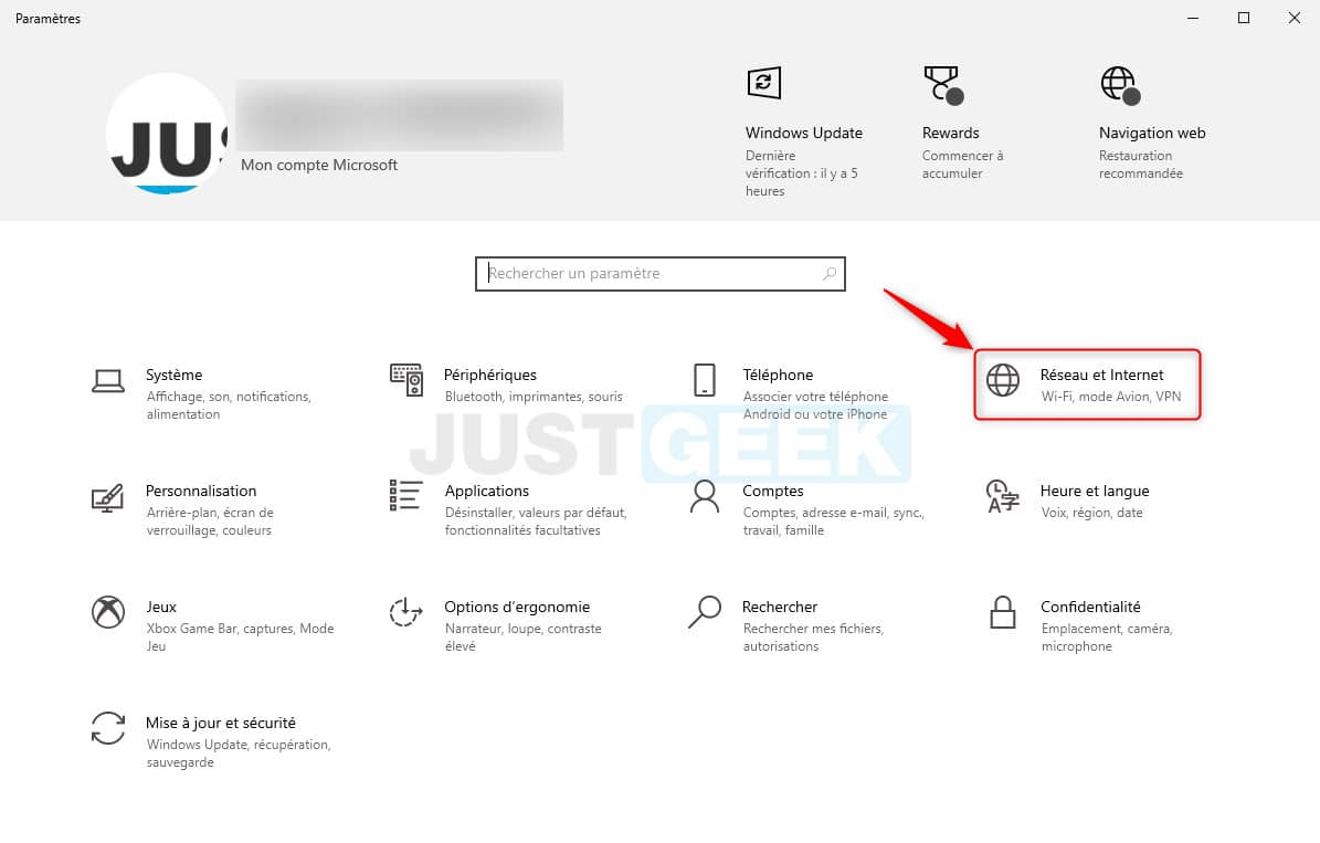 Paramètres réseau et internet Windows 10