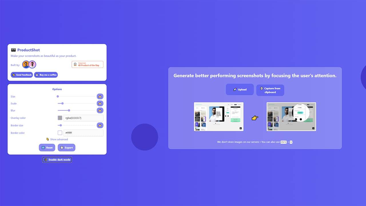Personnaliser une capture d'écran avec ProductShot