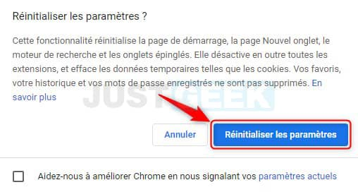 Réinitialiser les paramètres de Google Chrome