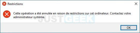 Message de restrictions Windows