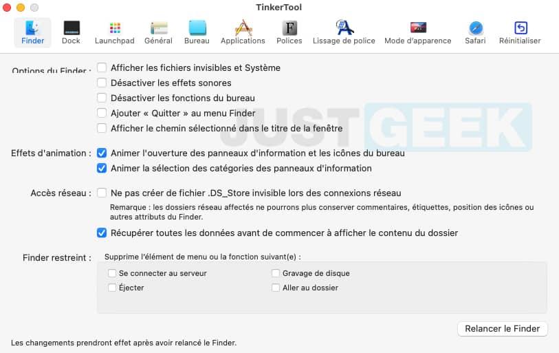 TinkerTool : menu Finder