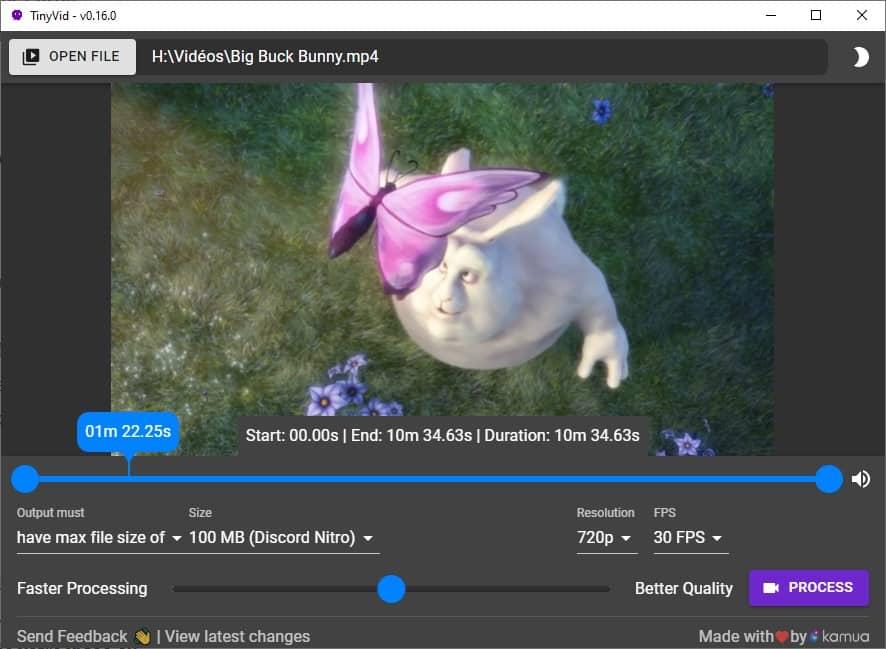 Compresser une vidéo facilement avec TinyVid