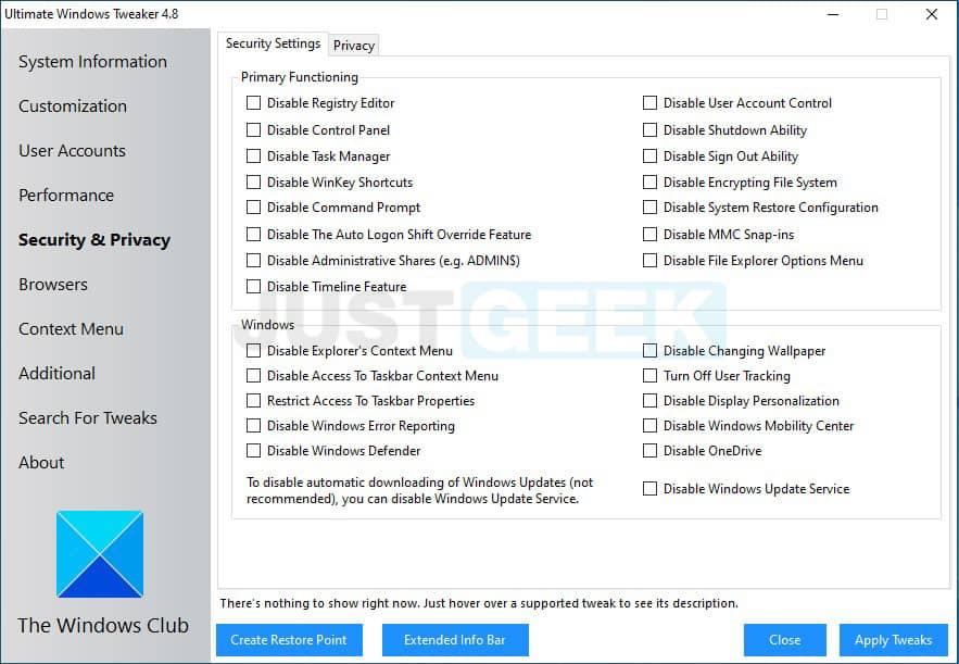 Ultimate Windows Tweaker Security & Privacy