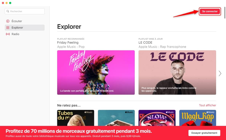 Se connecter sur Apple Music Electron