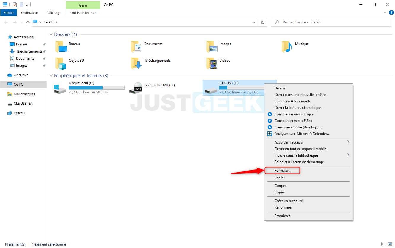 Formater une clé USB via l'Explorateur de fichiers