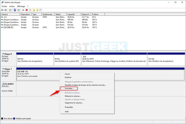 Formater une clé USB avec l'outil Gestion des disques de Windows 10