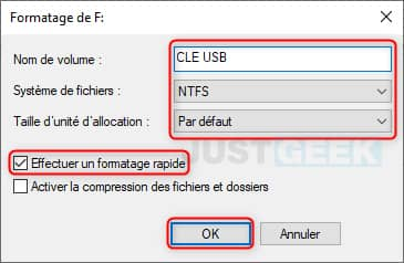 Formatage rapide clé USB