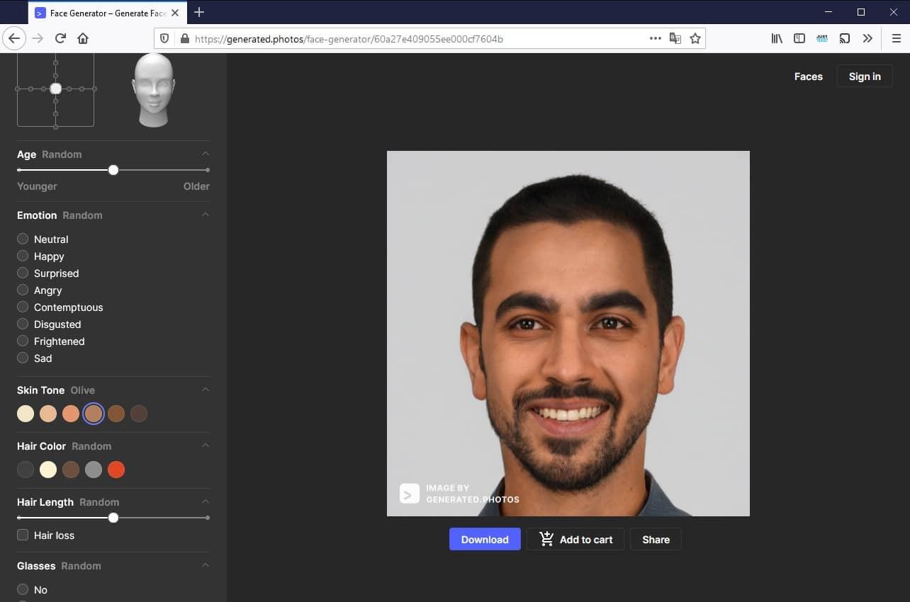 Créer un visage personnalisé avec Face Generator