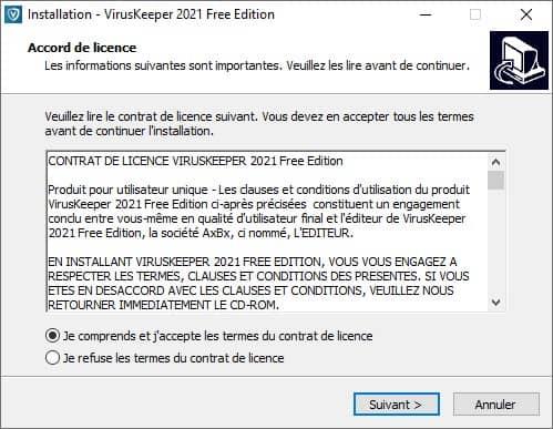 Installation VirusKeeper 2021 Free Edition