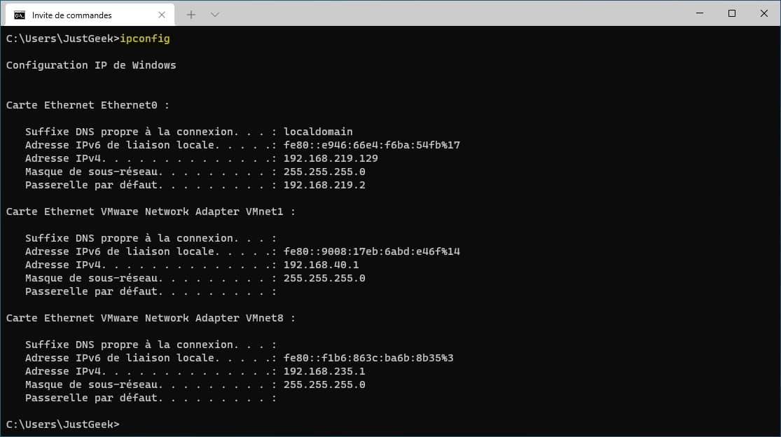 commande réseau ipconfig