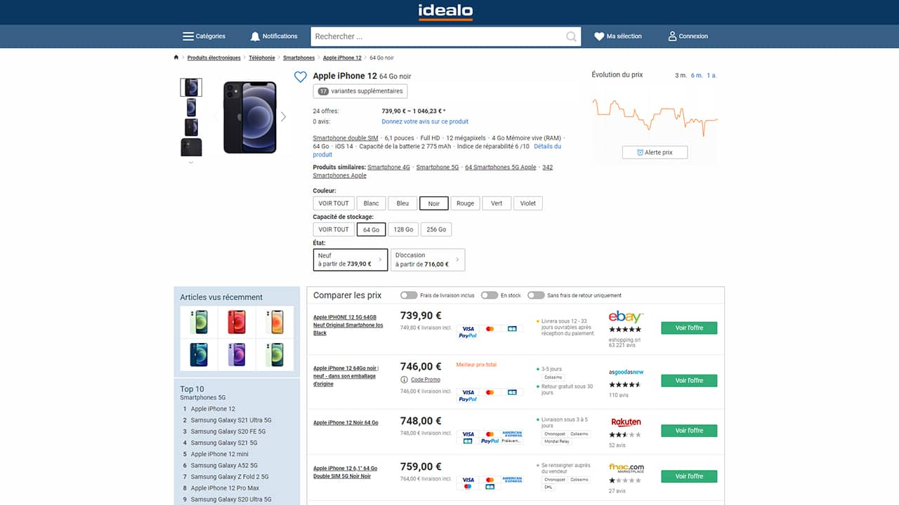 Comparer les prix de l'iPhone 12 avec Idealo
