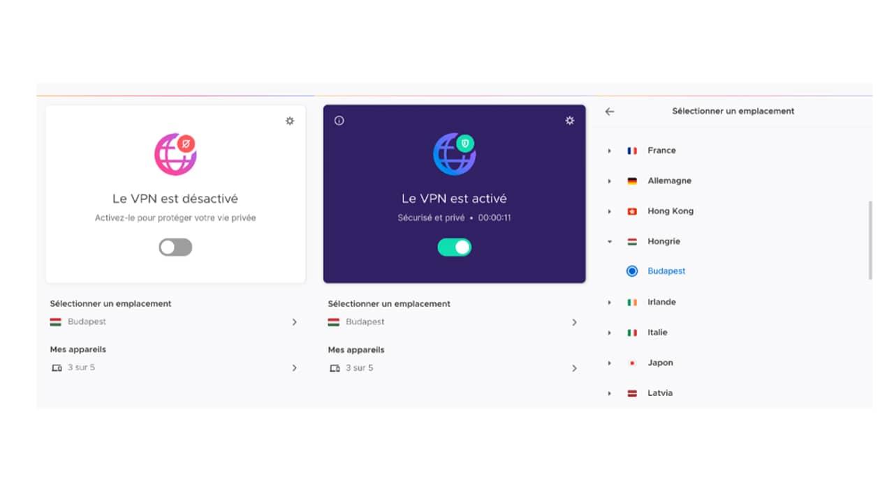 Interface du VPN Mozilla