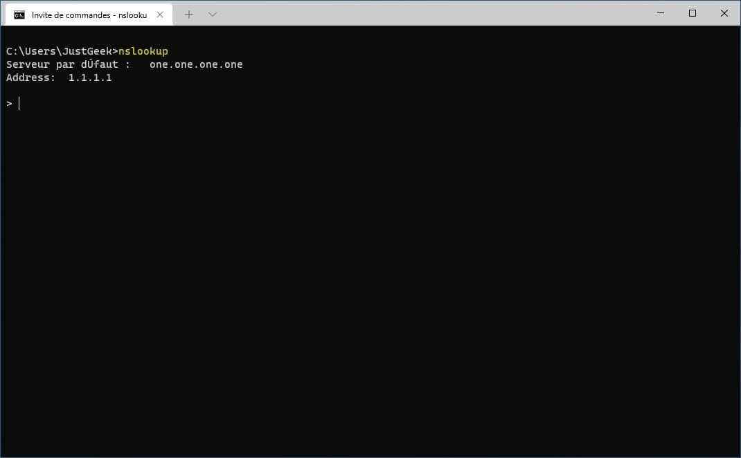 commande réseau nslookup
