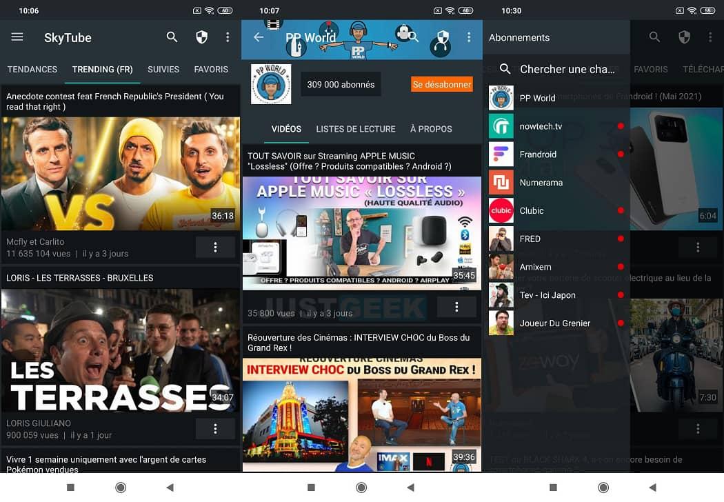 Interface de Skytube, l'alternative non officielle à l'application YouTube