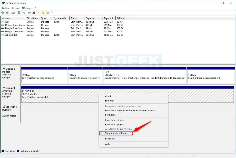 Supprimer le volume d'une clé USB avec l'outil Gestion des disques de Windows 10
