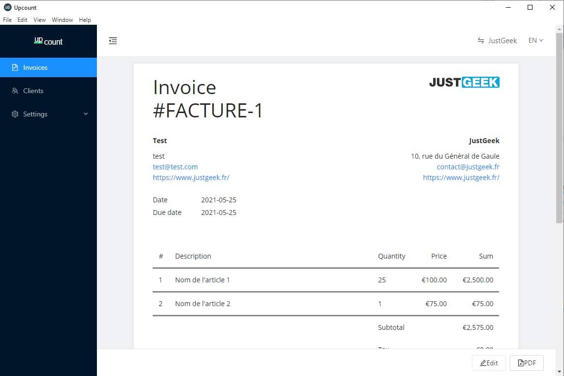Exemple de facture avec Upcount