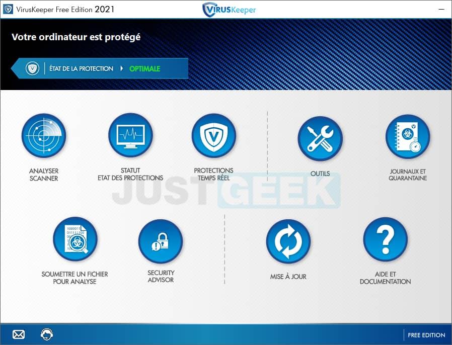 Interface du logiciel antivirus VirusKeeper 2021 Free Edition