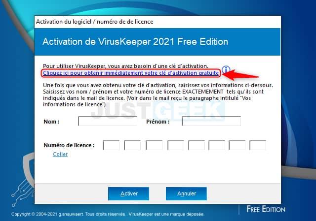 Demande de clé d'activation gratuite pour VirusKeeper 2021 Free Edition