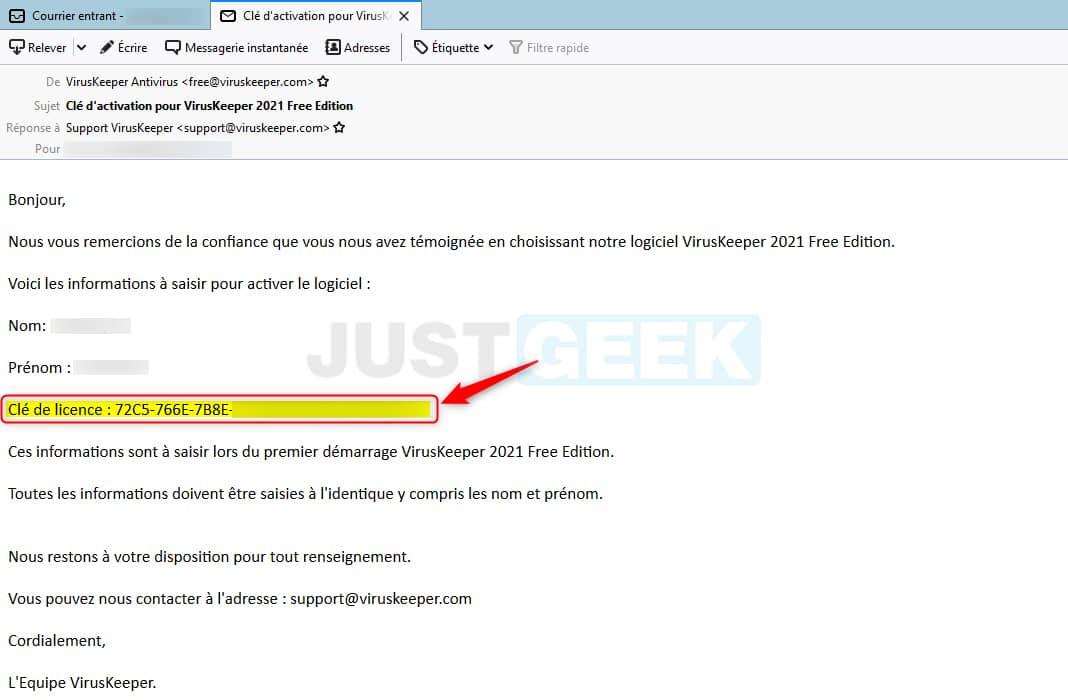 Clé d'activation gratuite VirusKeeper 2021 Free Edition