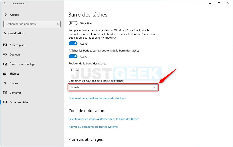Afficher les noms des applications dans la barre des tâches de Windows 10
