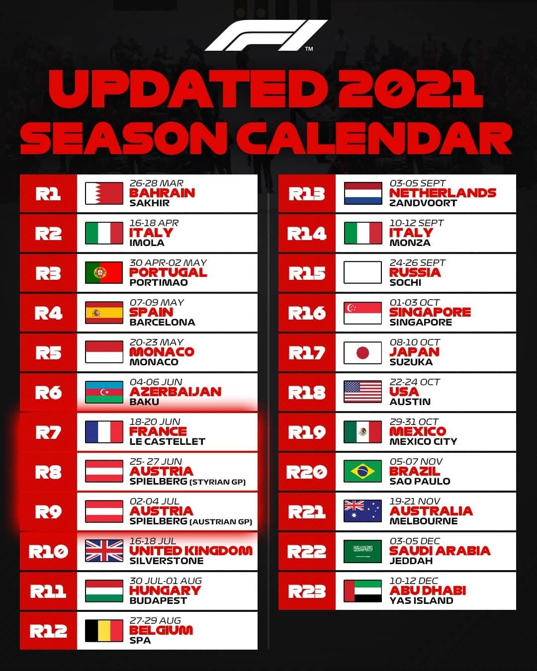 Calendrier 2021 Grand Prix F1