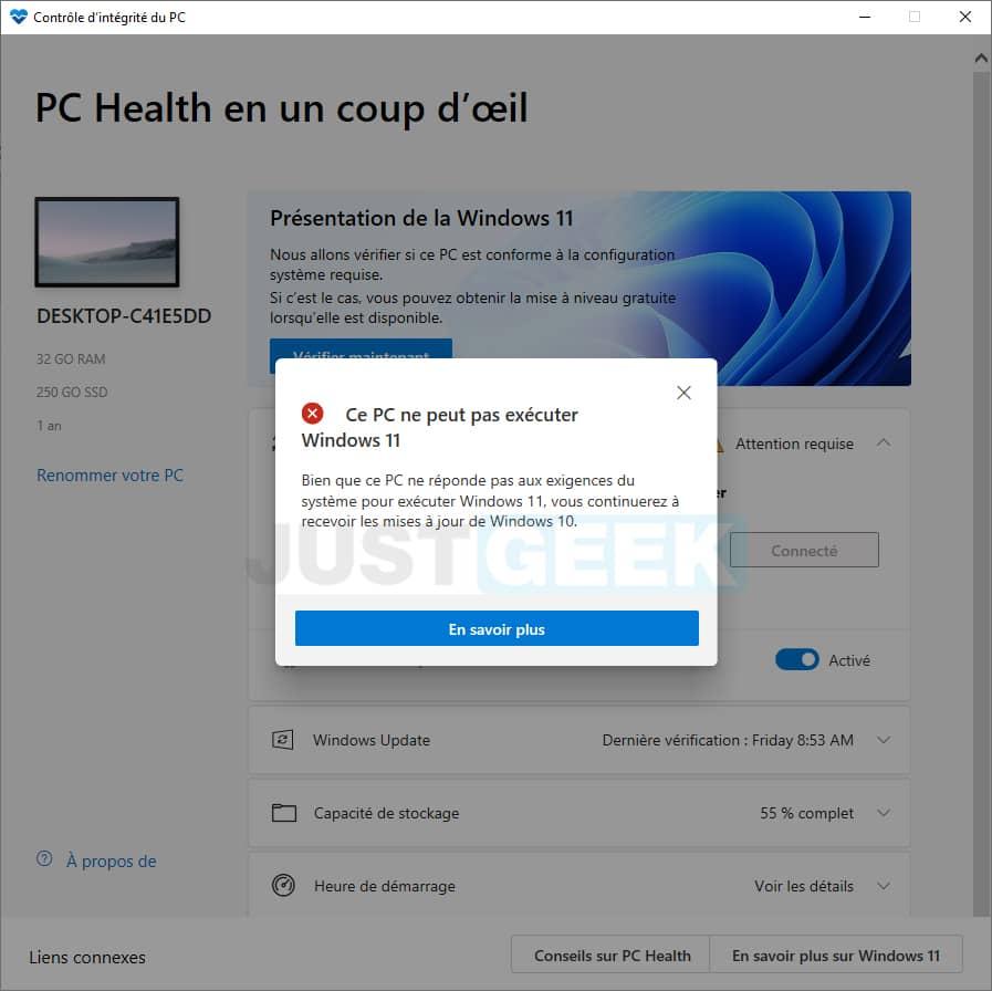 """Message d'erreur : """"Ce PC ne peut pas exécuter Windows 11"""""""
