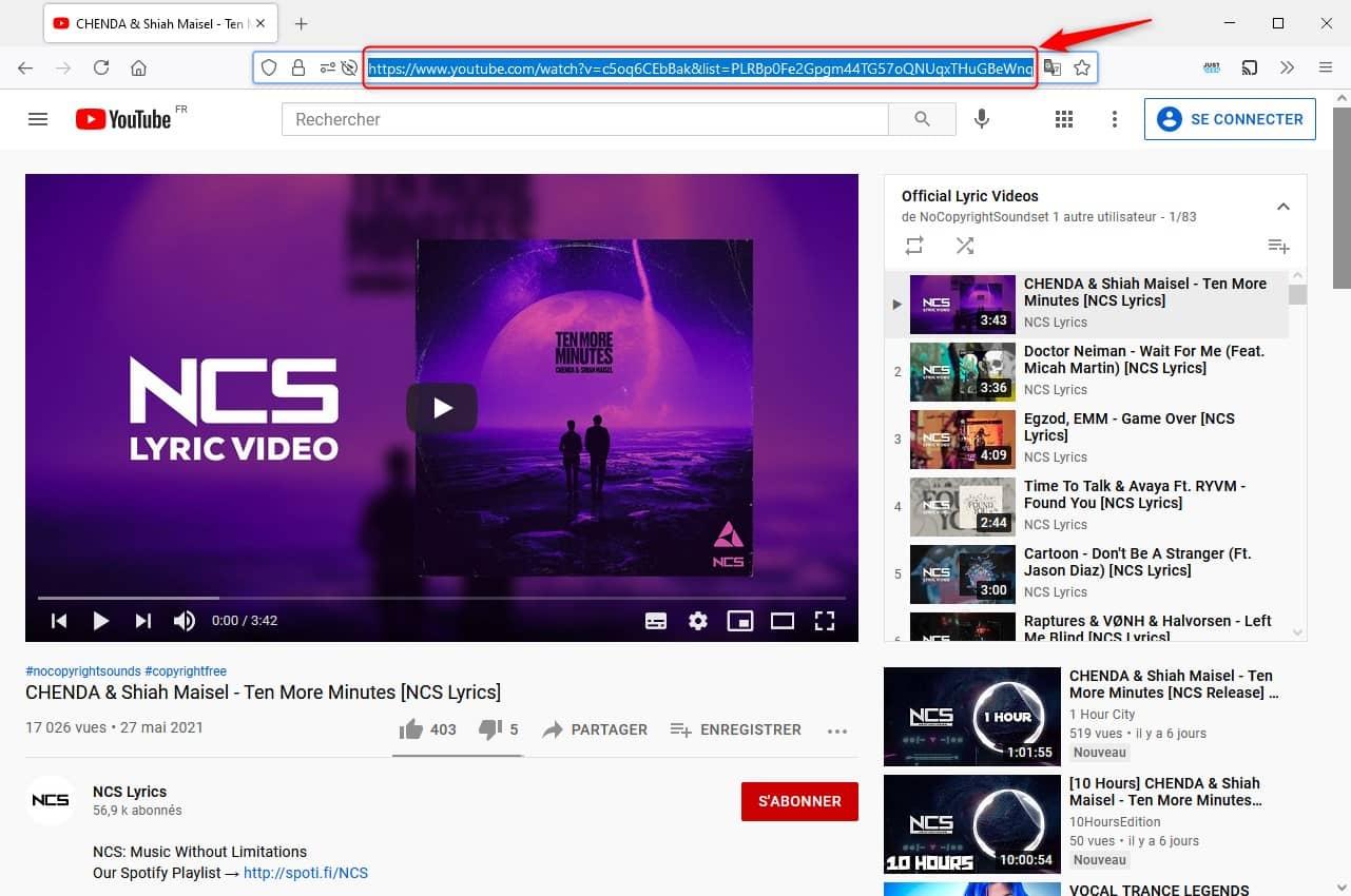 Copier URL playlist YouTube